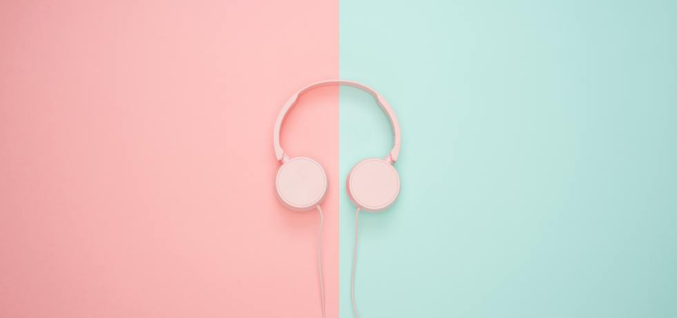 Pink/blue headphones